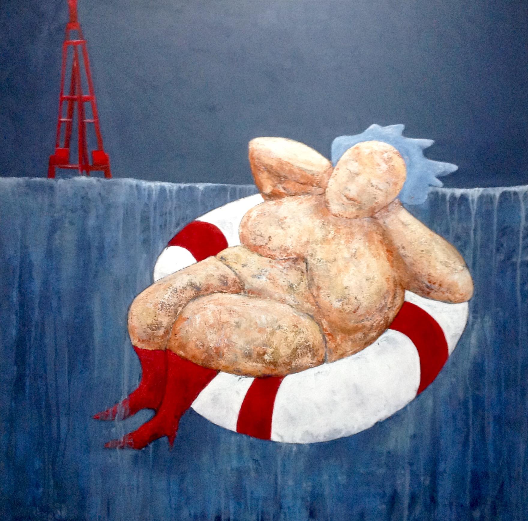 """Fru Willendorf  """"Så'n er livet"""" 100 x 100 cm"""