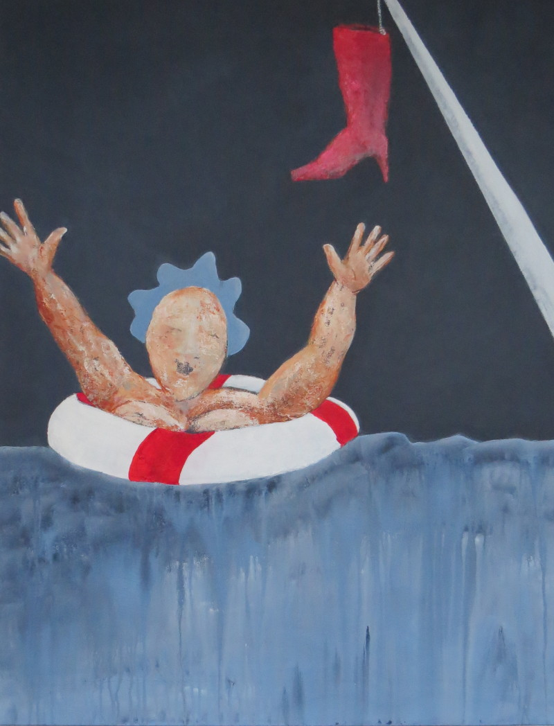 Fru Willendorf i nød 70 x 90 cm SOLGT!