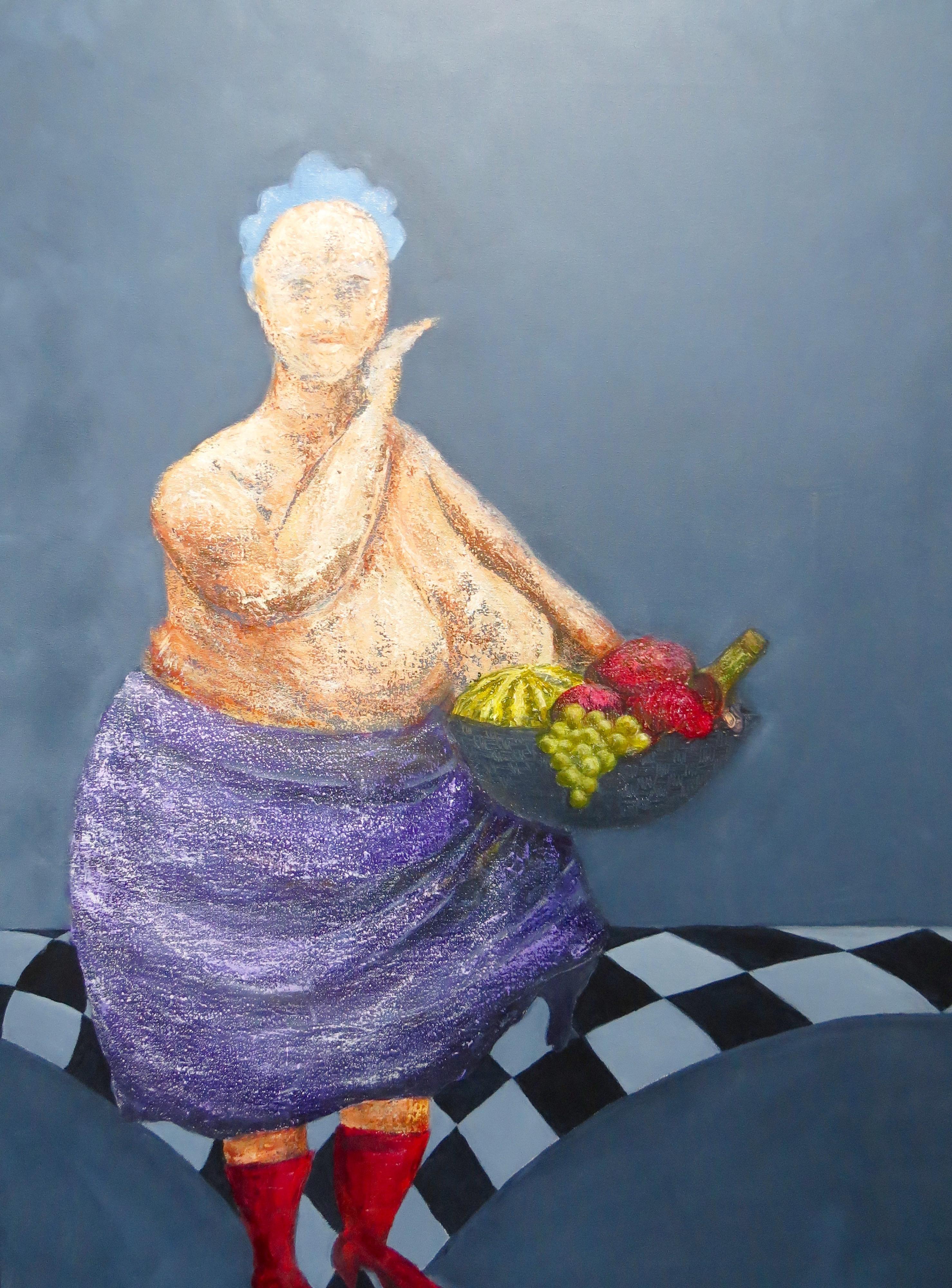 Fru Willendorf - Forbuden frugt smager bedst. 60 x 80 cm