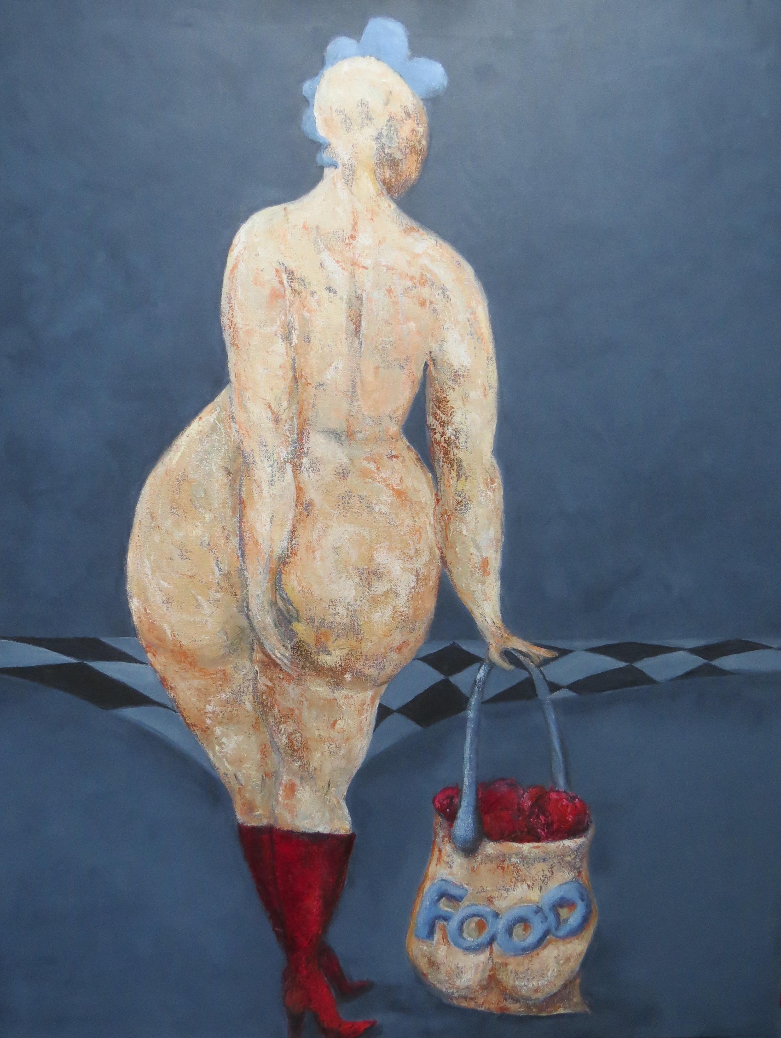 """Fru Willendorf - """"På indkøb"""" 70 x 90 cm"""