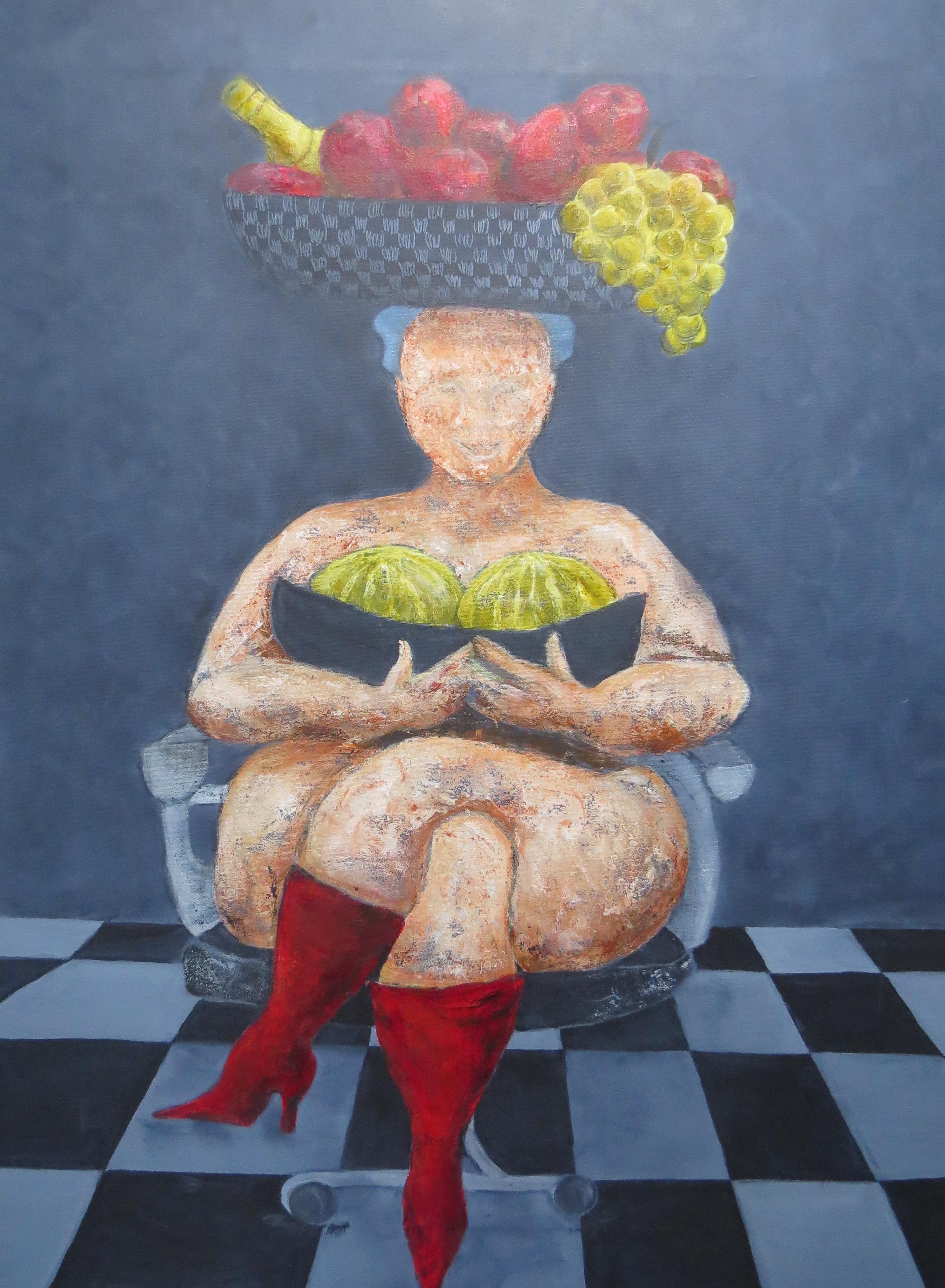 "SOLGT! Fru Willendorf - ""Et par gode meloner"" 60 x 80 cm SOLGT!"