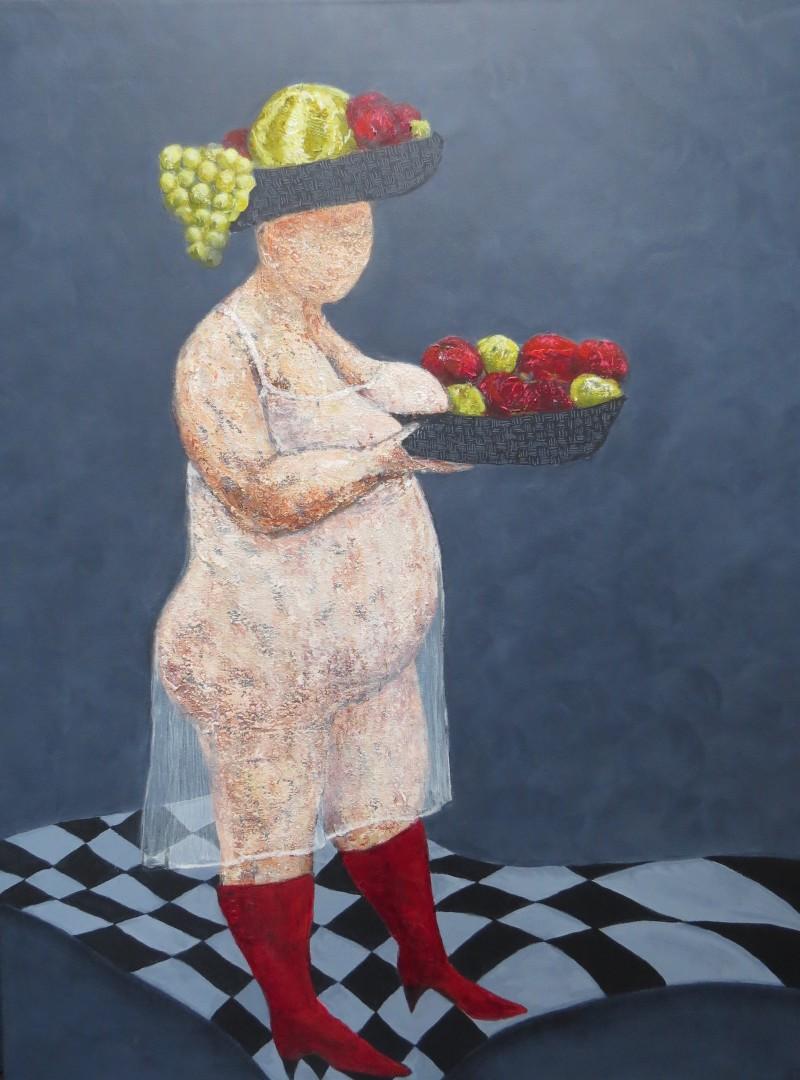 Fru Willendorf: Frisk frugt fra fad 60 x 80 cm