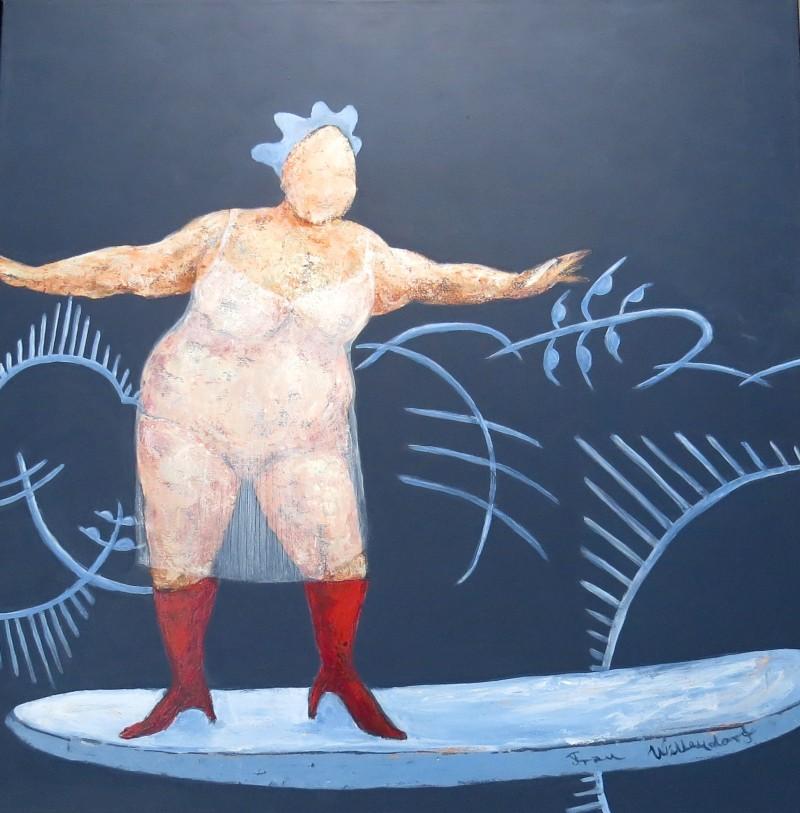 Fru Willendorf på board 80 x 80 cm